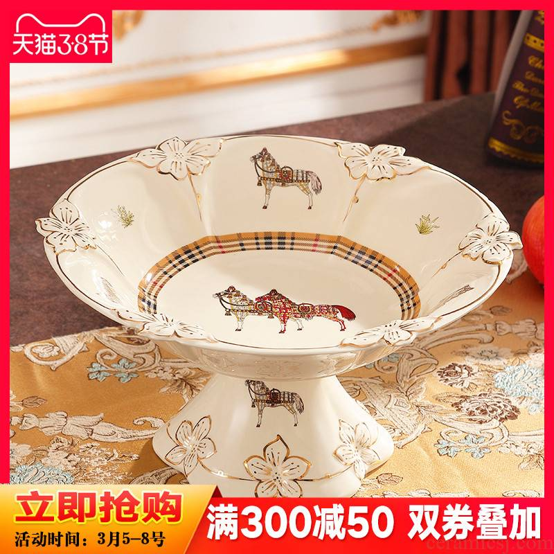 European ceramic fruit bowl housing practical large tall fruit bowl sitting room tea table decoration furnishing articles