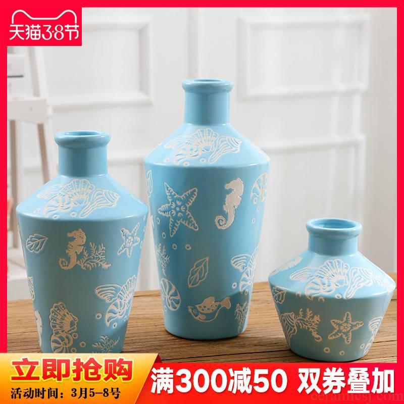 Mediterranean three - piece ceramic vase continental creative living room TV cabinet dry vase home furnishing articles