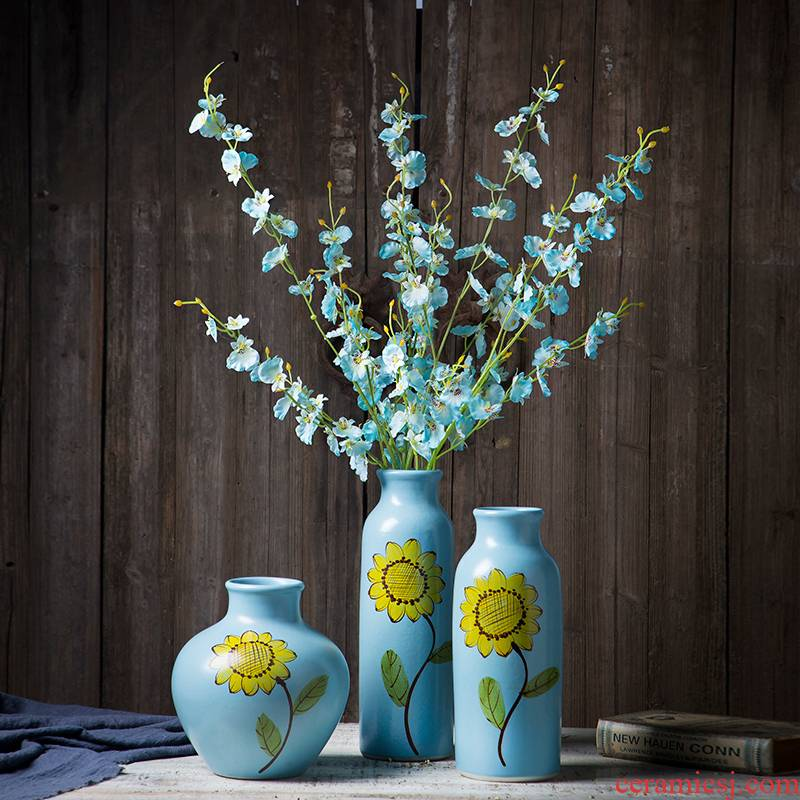 Jingdezhen ceramic hand - made sunflower dry flower vases, flower arranging furnishing articles contracted and I rural quietly elegant sitting room adornment