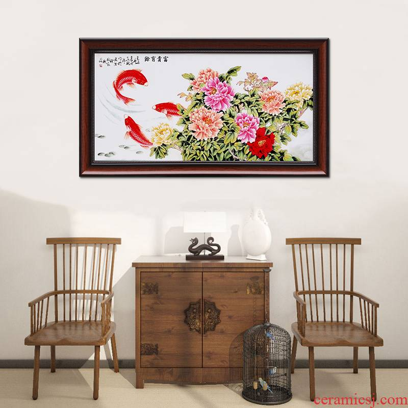 Jingdezhen pastel of new Chinese style ceramic plate metope adornment painting the living room sofa background wall hangs a picture of the corridor