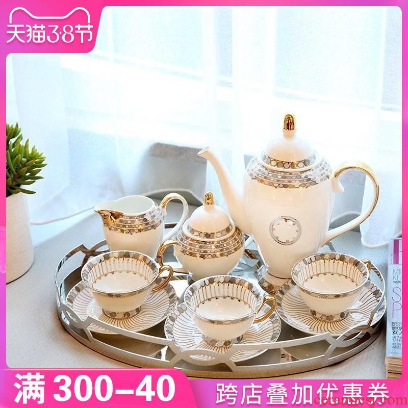 European home example room adornment sitting room tea table light key-2 luxury furnishing articles wind ceramic coffee set, tea set decoration
