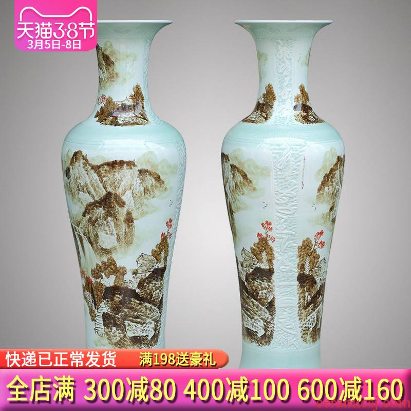 Jingdezhen ceramics hand - made the sitting room of large vase 1 m 2 TV ark of new Chinese style porch place gifts