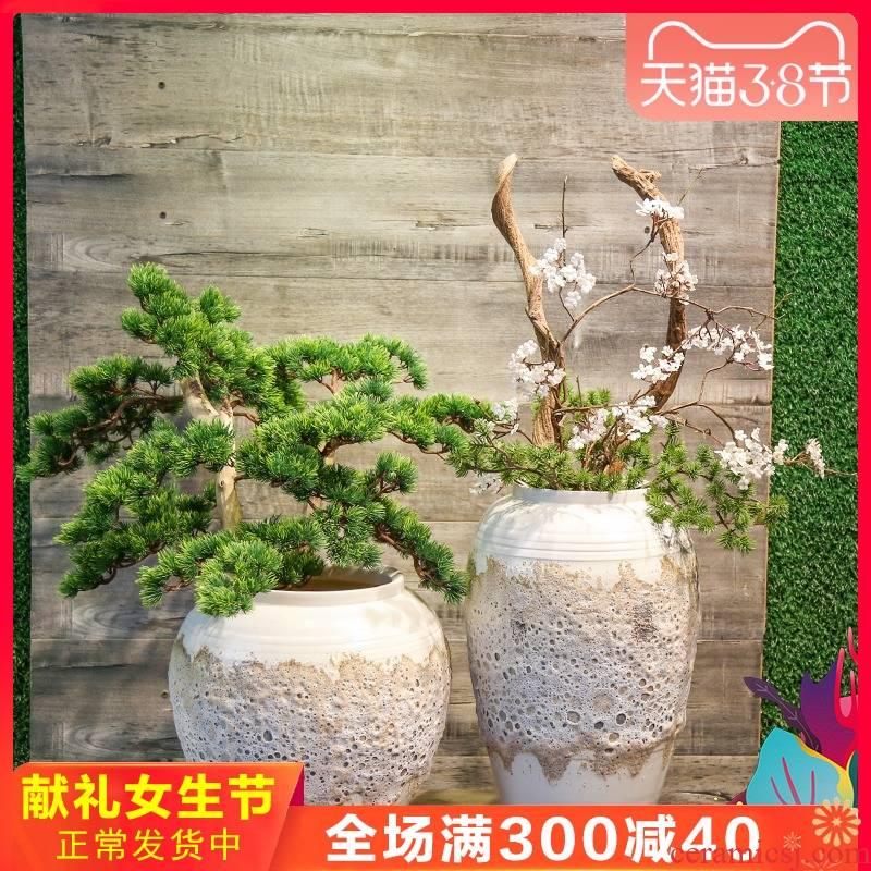 Jingdezhen manual coarse pottery vase mesa place simulation flower arrangement between villa hotel example sitting room decoration decoration