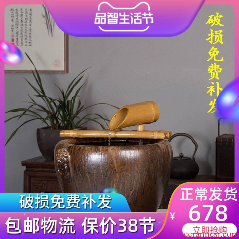 Jingdezhen ceramic aquarium water fountain aerobic koi fish bowl large a goldfish bowl bowl lotus lotus cylinder cylinder