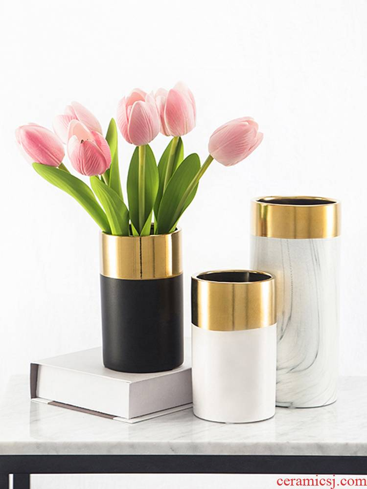 Creative Nordic marble vase sitting room simulation flower flower I and contracted household adornment ceramics furnishing articles