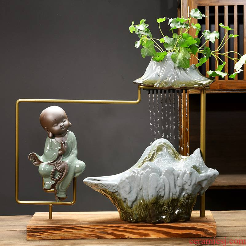 Zen new Chinese style flower water fountain money plant plant household desktop furnishing articles creative ceramic hydroponic flower pot