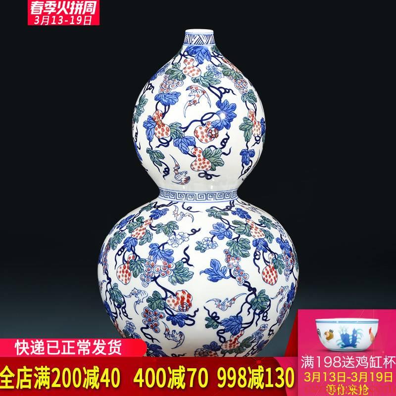 Jingdezhen ceramics hand - made antique blue and white porcelain live figure gourd vases, furnishing articles furnishing articles of Chinese style living room wine