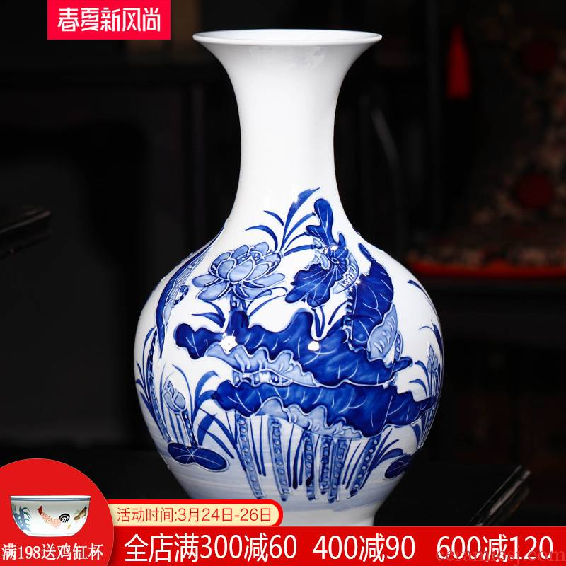Jingdezhen ceramics hand - made embossed lotus flower vase of blue and white porcelain home decoration handicraft furnishing articles sitting room