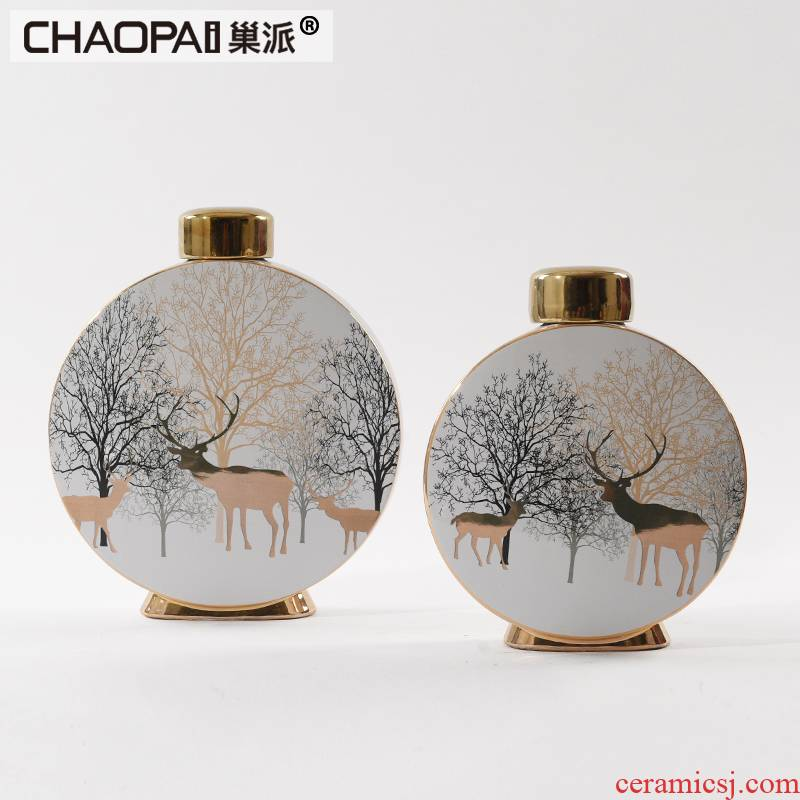 Moose pattern ceramic storage tank furnishing articles rich ancient frame creative Chinese soft adornment household wine sitting room decoration