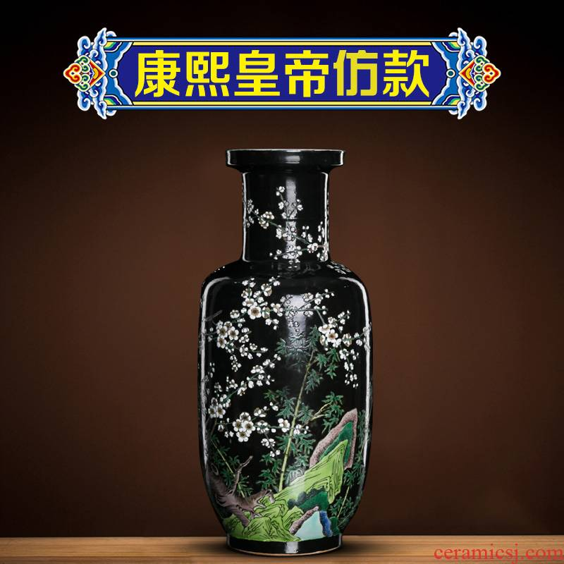 Better sealed up with jingdezhen ceramic vases, new Chinese style furnishing articles retro nostalgia show bottles of rich ancient frame, the sitting room is black