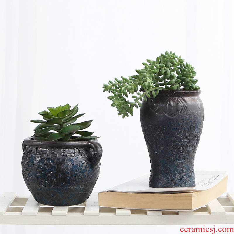 European meaty plant ceramic big old running high dry vase flowerpot mage jade butterfly contracted character coarse pottery breathable