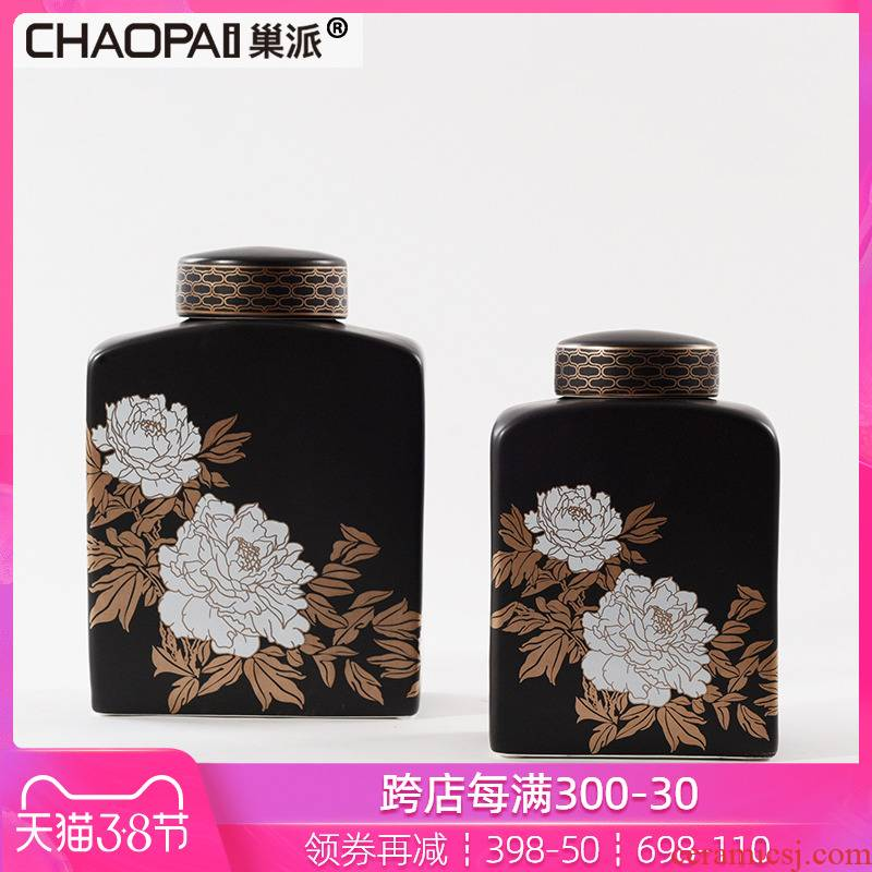 By the pattern adornment can place new classic black ceramic bottle wine art decoration handicraft sample room