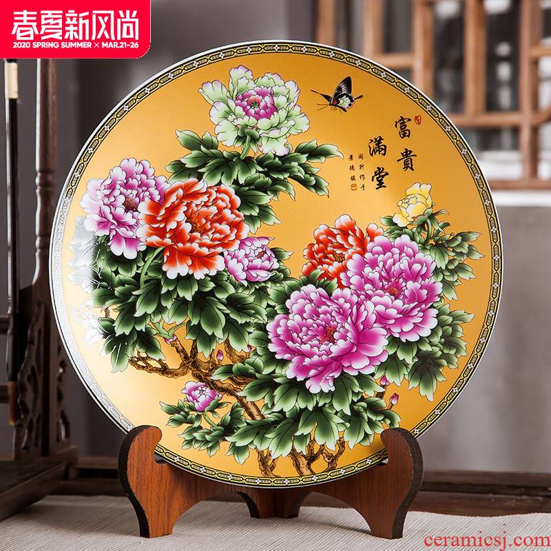 Jingdezhen ceramics furnishing articles household decorations hanging dish wine sitting room porch decoration plate Chinese arts and crafts