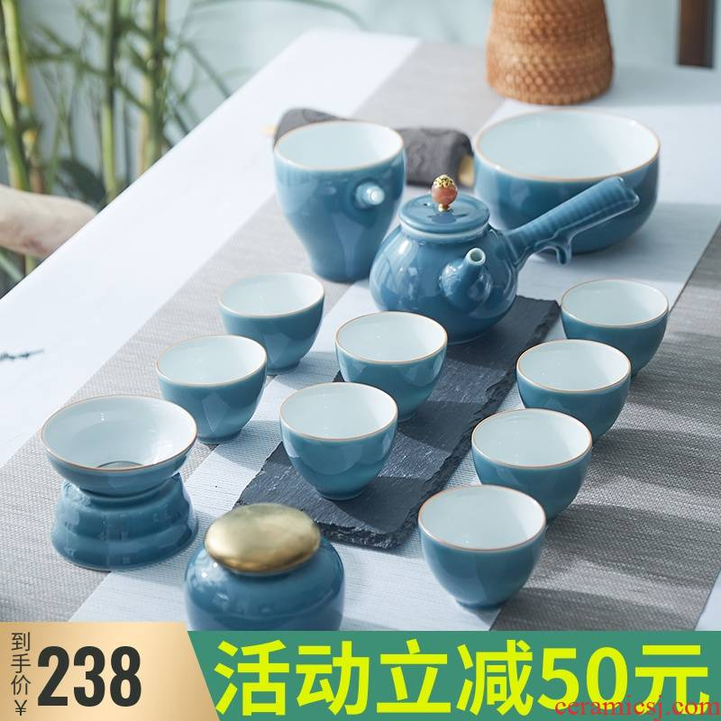 Jingdezhen ceramic kung fu tea sets tea cup home sitting room pure color side put lid bowl of high - end gift box