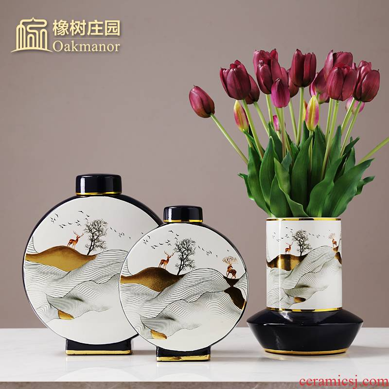 Chinese zen receive storage tank furnishing articles with cover POTS household soft adornment retro candy jar of pottery and porcelain vessels