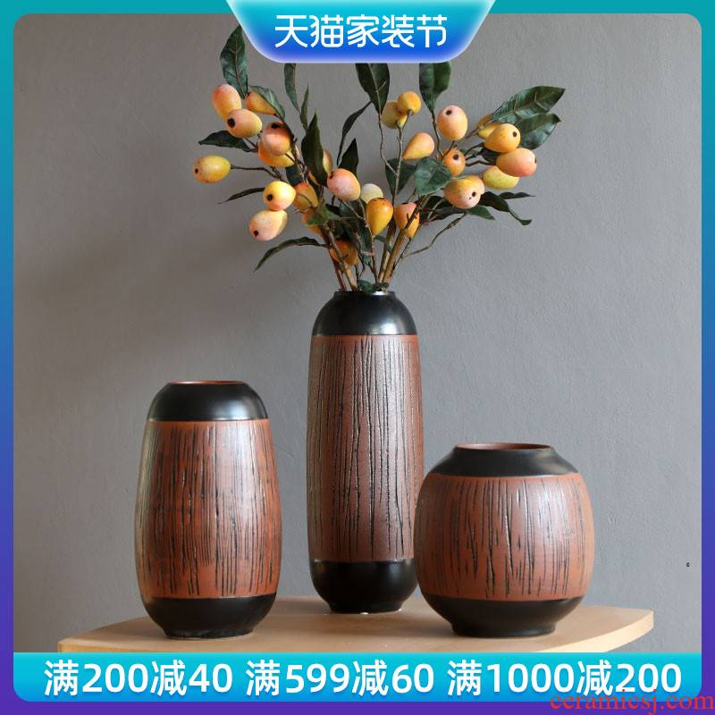 Mesa vases, ceramic hotel villa clubhouse dried flowers, flower arrangement, the sitting room porch place creative European - style decoration decoration