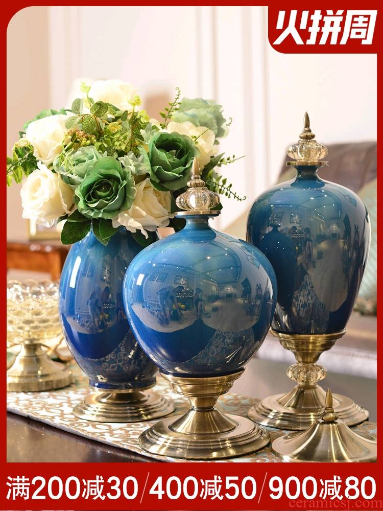 Light European - style key-2 luxury furnishing articles ceramic vase American TV ark, sitting room porch table dry flower arranging flowers home decoration