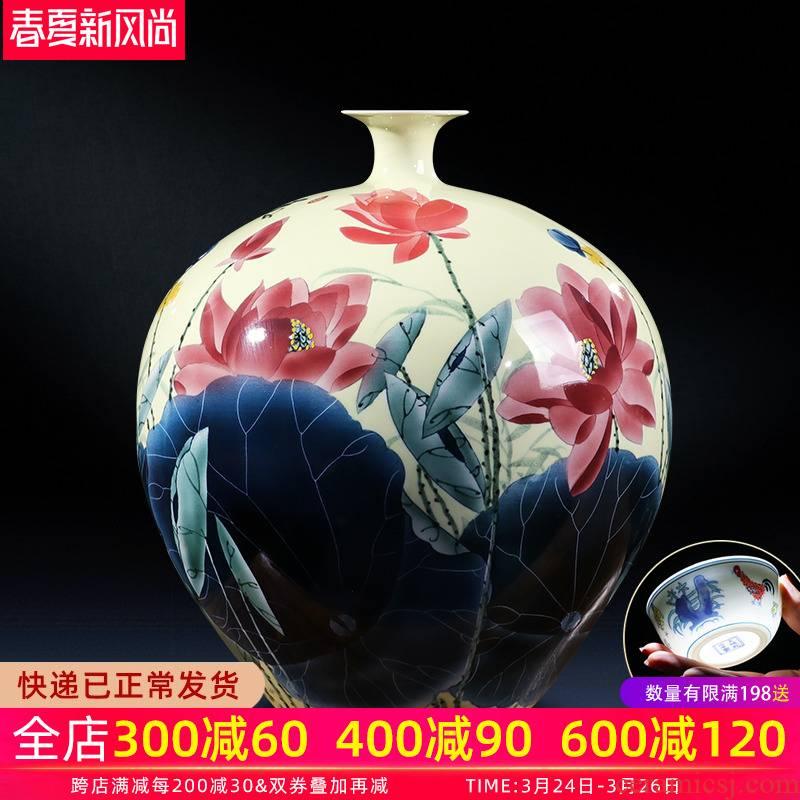 Jingdezhen ceramic vase hand - made craft porcelain bottle gourd vases son sitting room of Chinese style household adornment place adorn article