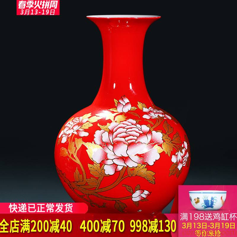 Jingdezhen ceramics China red peony vase landing place, a new Chinese style household decorate gifts large living room