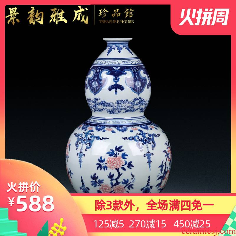 Jingdezhen ceramic hand - made of blue and white porcelain vase sitting room place new porch rich ancient frame of Chinese style household ornaments