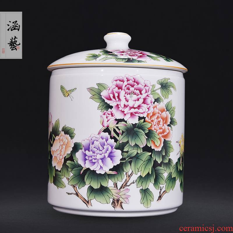 Jingdezhen ceramic famille rose straight canister very beautiful caddy fixings Chinese style living room home decoration furnishing articles craft gift