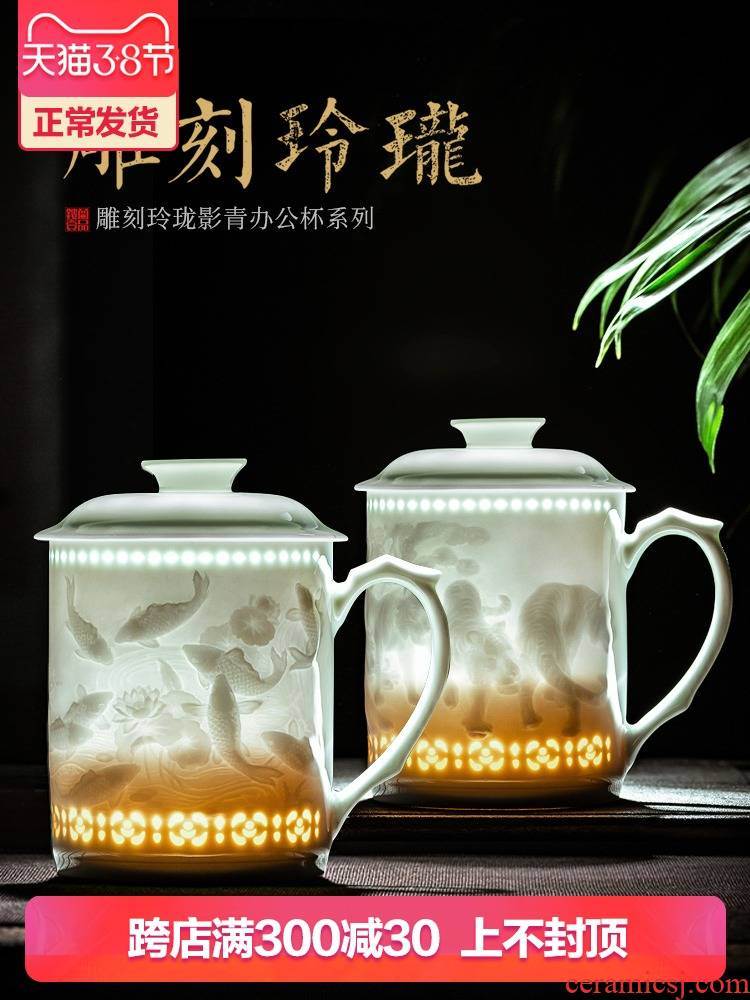 Jingdezhen ceramic hand - carved office cup with cover cup ultimately responds a cup of tea cup and meeting Chinese zodiac custom