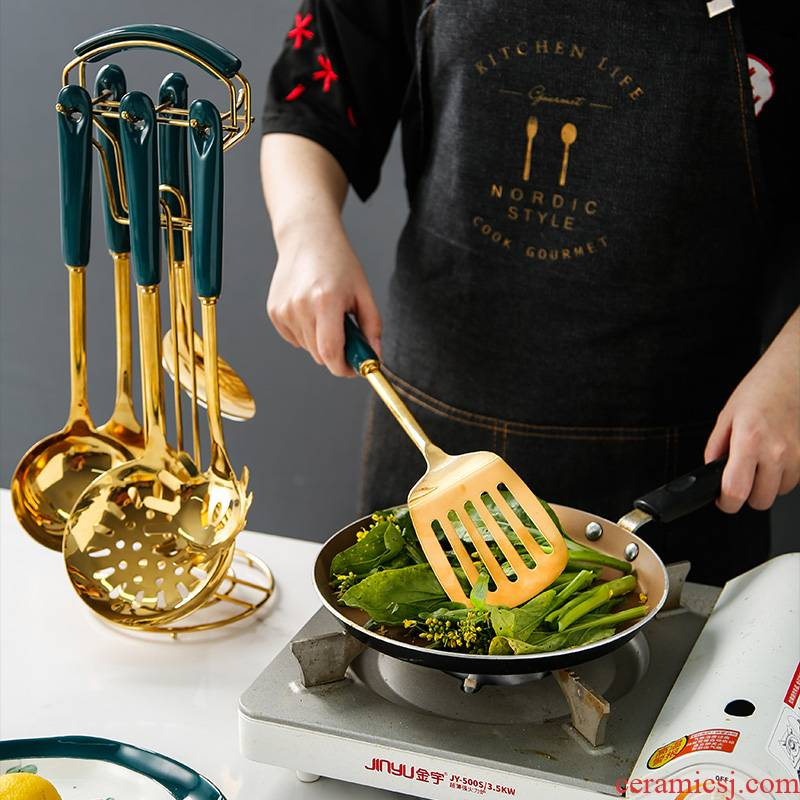 Malachite green ceramic stainless steel spatula long handle stir - fry shovels household thickening high - temperature frying shovel spoon, ladle