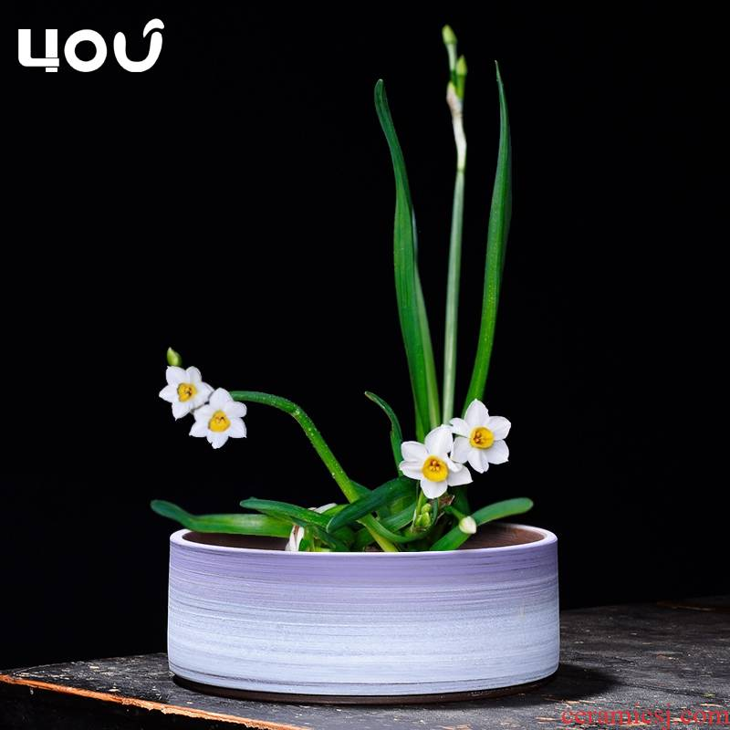 Hydroponic flower pot ceramic grass daffodils cooper large bowl lotus lotus meat meat the plants of large diameter platter fleshy flower pot