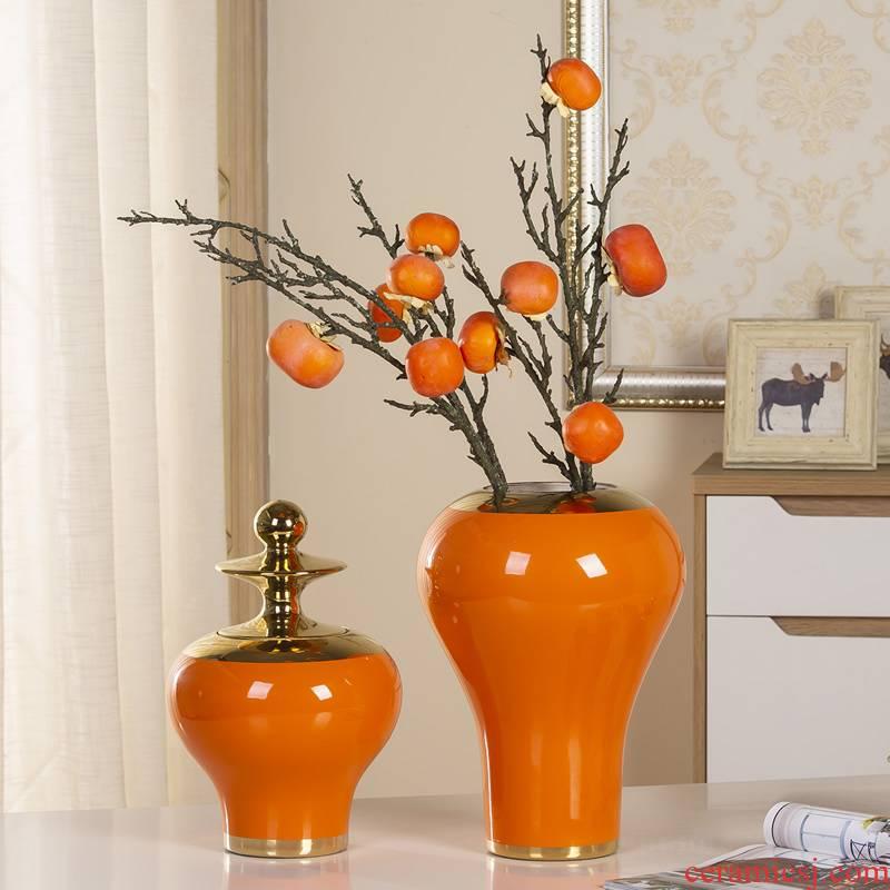 Jingdezhen ceramics vase dried flower adornment furnishing articles north European American creative flower POTS sitting room decoration