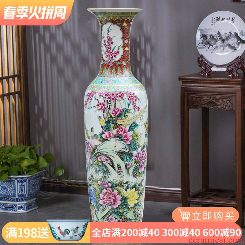 Jingdezhen ceramics large sitting room archaize pure hand draw large vases, Chinese style household decoration as furnishing articles