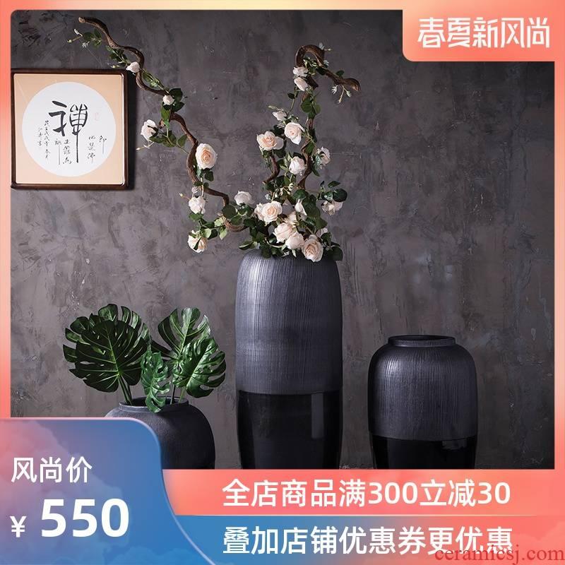 Jingdezhen modern landing big vases, ceramic flower pot courtyard garden pottery urn contracted sitting room decorated black furnishing articles