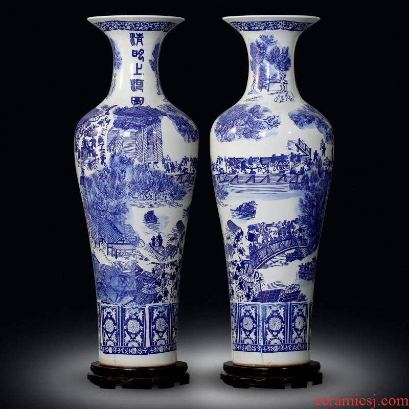 Jingdezhen sitting room of large vases, bright blue and white porcelain painting decorations study large - sized ceramic furnishing articles