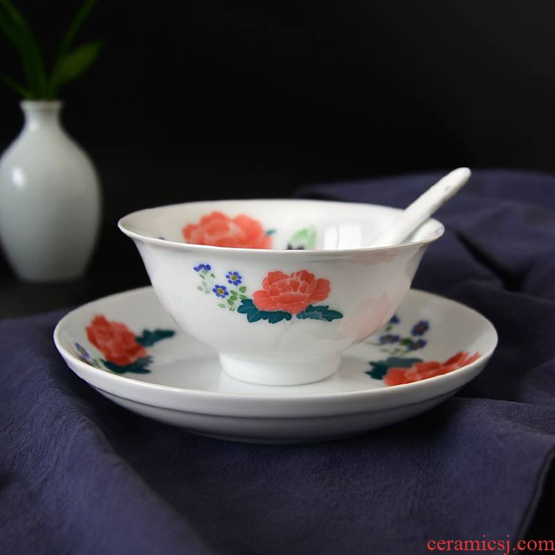 Under the liling porcelain glaze porcelain good remit color pure hand - made tableware suit thin bowls disc 6 people with a gift