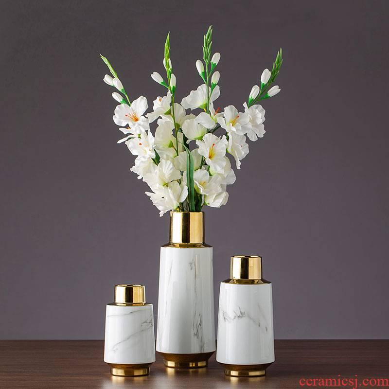 Imitation gold - plated marble ceramic flower implement home furnishing articles dried flower vase jingdezhen ceramic vase desktop sitting room