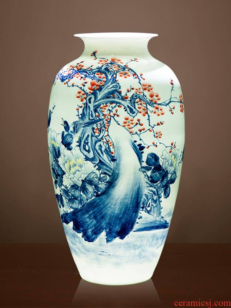 Jingdezhen ceramics by pure manual hand - made of blue and white porcelain vases, new Chinese style living room decorations furnishing articles present