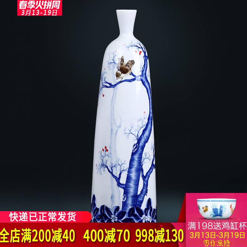 The Master of jingdezhen ceramics hand - made of blue and white porcelain vase of new Chinese style living room TV ark, porch ark, furnishing articles
