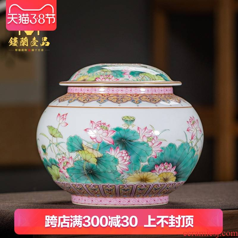 Jingdezhen ceramic all hand - made caddy fixings large heavy lotus store tea pot of Chinese style household handicraft furnishing articles
