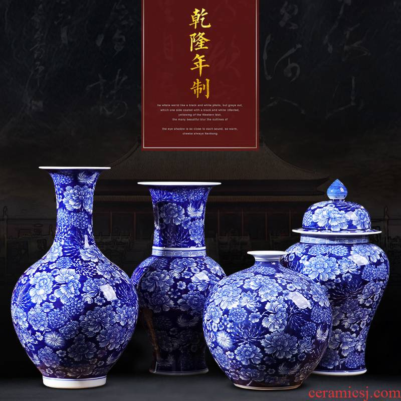 Jingdezhen ceramic bottle is blue and white porcelain vase furnishing articles archaize sitting room flower arranging Chinese TV ark, home decoration