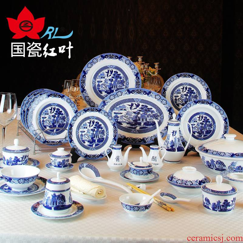 Jingdezhen red leaves shop treasure 228 head of ceramic tableware suit Chinese blue and white porcelain dishes classical gardens