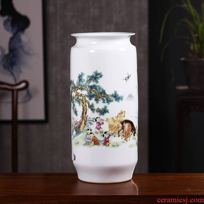 Jingdezhen ceramics office landscape painting scroll of large vase study adornment furnishing articles