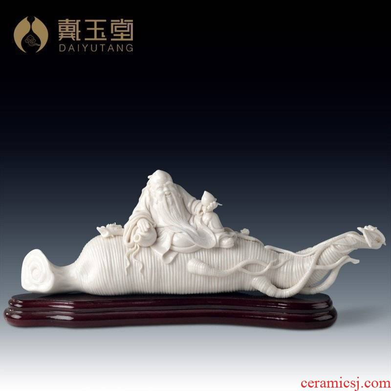 Yutang dai dehua white porcelain Su Youde master collect art furnishing articles peace ruyi ginseng D29-13
