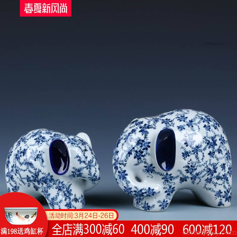Ceramic elephant furnishing articles a lucky feng shui decoration in jingdezhen blue and white porcelain home sitting room and the creative process act the role ofing is tasted