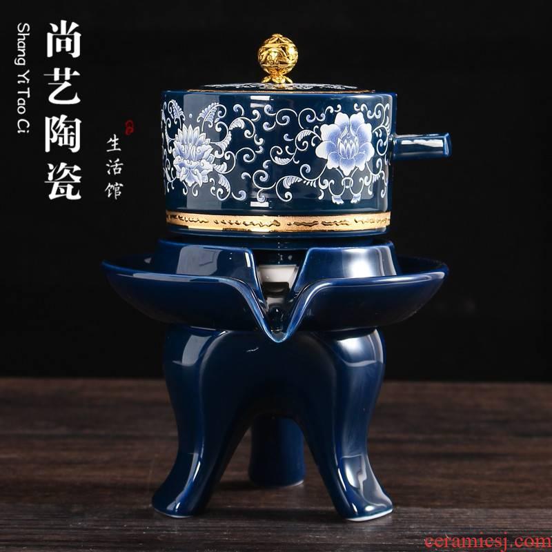 Fit creative ceramic semi - automatic teapot lazy tea ware has contracted household porcelain of kung fu tea set a single hot