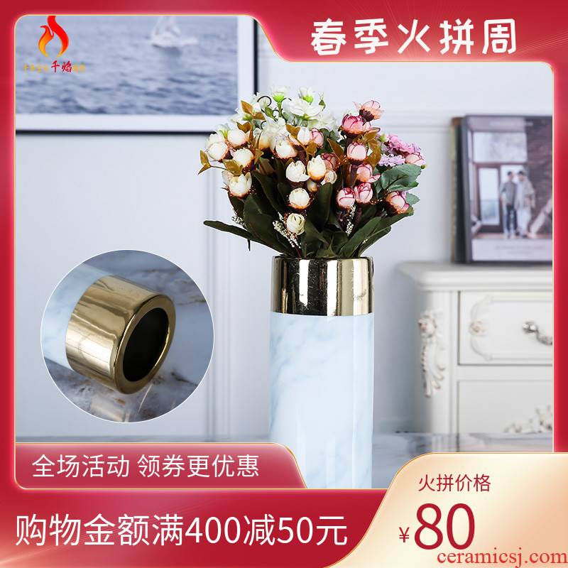 Jingdezhen new Chinese style light much creative flower marbled ceramic vase furnishing articles hotel sitting room adornment