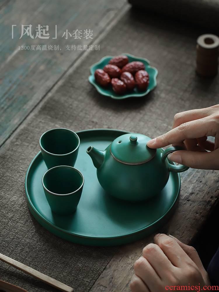 ShangYan Japanese contracted kung fu tea set small set of household ceramic teapot teacup dry tea set tea service kit