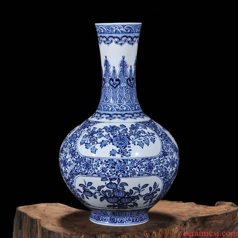 Qianlong style antique hand - made porcelain of jingdezhen ceramics window four seasons vase household decorations study furnishing articles
