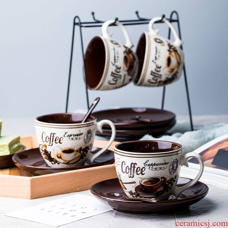 Youcci porcelain leisurely continental small coffee cups and saucers suit creative move contracted hand - made ceramic cup coffee kit