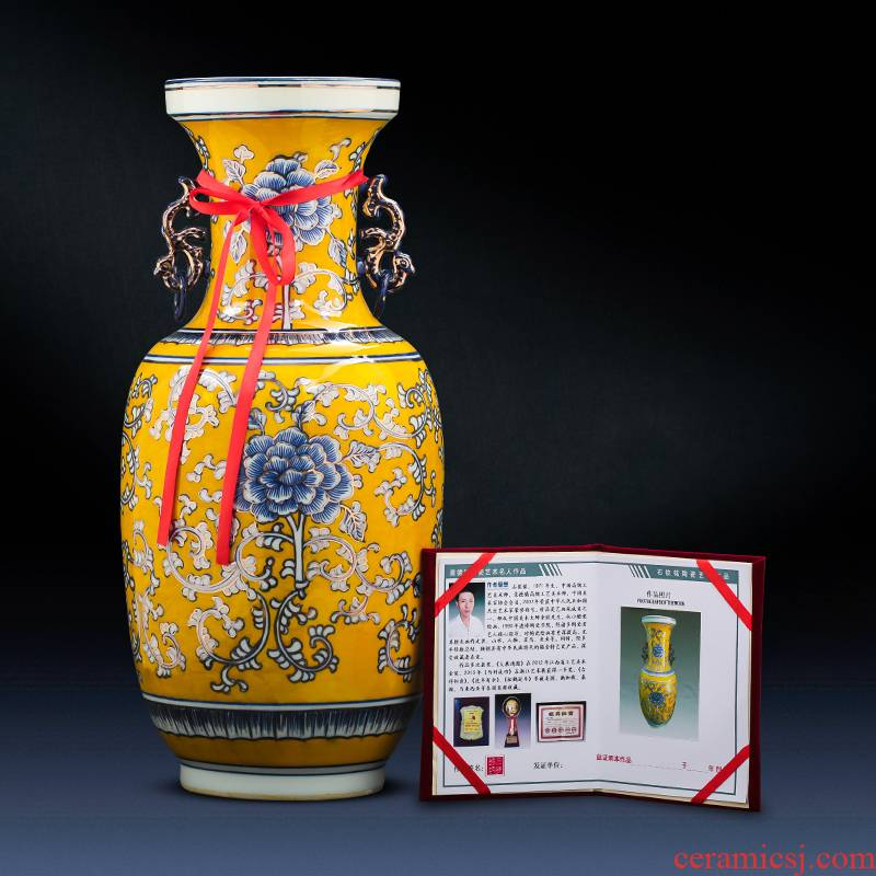 Jingdezhen chinaware paint hand - made vases, antique Chinese style light key-2 luxury living room TV cabinet decoration handicraft furnishing articles