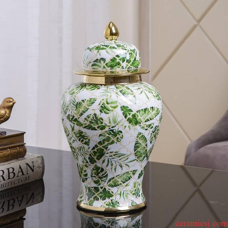 American general ceramic vase furnishing articles canister light key-2 luxury living room table European rural dried flower arranging flowers decorative porcelain jar