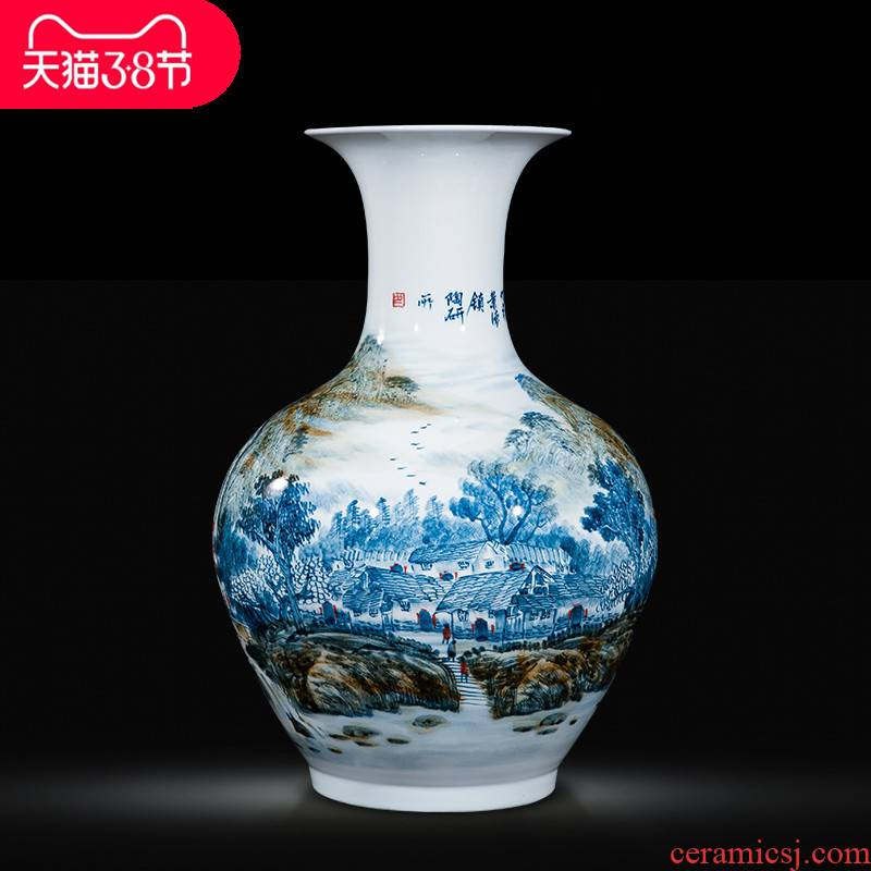 Jingdezhen ceramic celebrity master hand draw large vases, Chinese style household adornment hotel villa handicraft furnishing articles